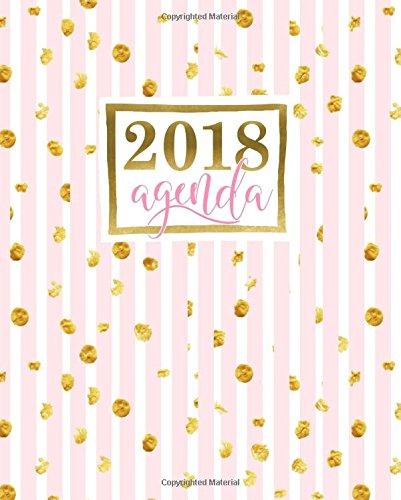 Agenda: 2018 Agenda semana vista español : 190 x 235 mm, 160 g/m² : Rayas rosas con manchas doradas: Volume 13 (Calendarios, agendas y organizadores personales)