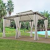 ArtLife Pavillon Ponza 3 x 4 m Creme | Gartenzelt mit Metallgestell inklusive Seitenwänden | Festzelt Partyzelt Gartenpavillon