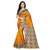 Jaanvi Fashion Women's Art Silk Kalamkari Printed Saree (Yellow_Kalavati)