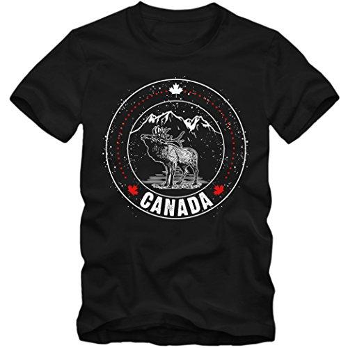 Canada Elch #3 Premium T-Shirt | Kanada | Berge | Ahornblatt | Herren | Shirt, Farbe:Schwarz (Deep Black L190);Größe:S (Kanada-tag T-shirt)