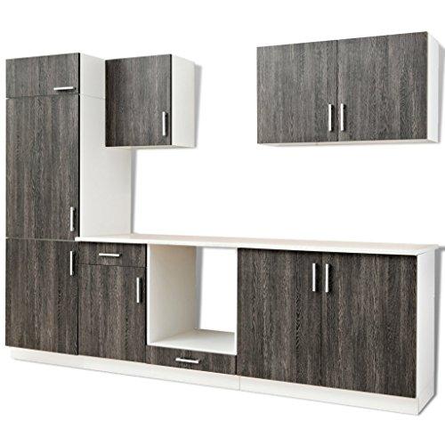 Vidaxl armadietto mobili cucina componibile aspetto wenge unità frigorifero 7 pz