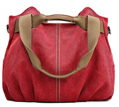SCIEU Handtasche Damen Canvas Groß Schultertasche Multi-Tasche Umhängetasche Casual Modisch Vintage Hobo für Alltag Büro Schule Ausflug Shopping-Rot -