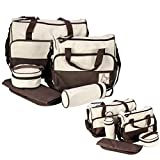 Itian Set 5pcs Mutter Bag, für Baby-Milch Trinken, Windel Wechseln und Lagerung andere Dinge (Braun)