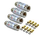 PremiumX 4X PXIL-10 Mini Inline Verstärker 20dB für Sat und DVB-T Koaxial Kabelverstärker F-Stecker auf F-Kupplung IN-LINE PXIL10 Leistungsverstärker 5-2500 MHz + 8X F-Stecker 7mm in Farbe 'Gold'