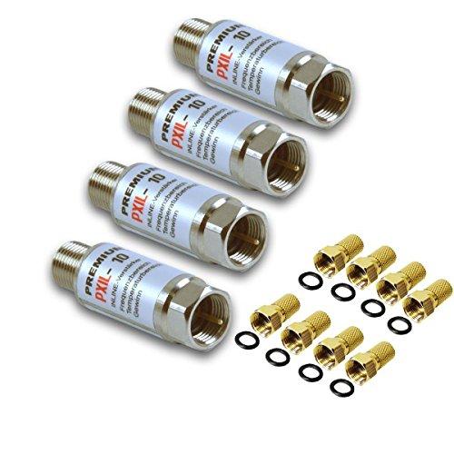 PremiumX 4X PXIL-10 Mini Inline Verstärker 20dB für Sat und DVB-T Koaxial Kabelverstärker F-Stecker auf F-Kupplung IN-LINE PXIL10 Leistungsverstärker 5-2500 MHz + 8X F-Stecker 7mm in Farbe \'Gold\'