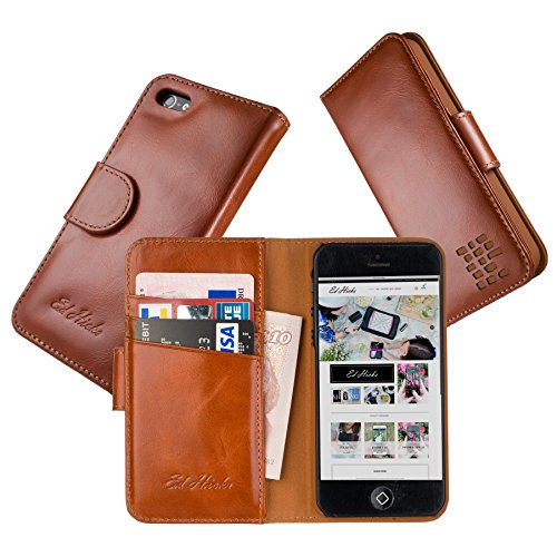 """Luxus Echtes Leder iPhone SE iPhone 5S iPhone 5 Ledertasche Kompakt Brieftasche Hülle mit """"Doppelt Schild"""" Schutz und Gegenüber Magnetverschluss um vermeiden Kreditkarte Korruption Die Rila in Braun"""