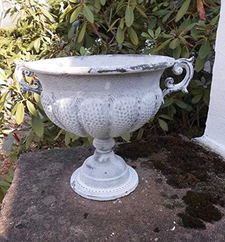 Deko-Impression Übertopf Amphore Pflanztopf Vase Pokal Kelch Eisen Antik-Look hellgrau