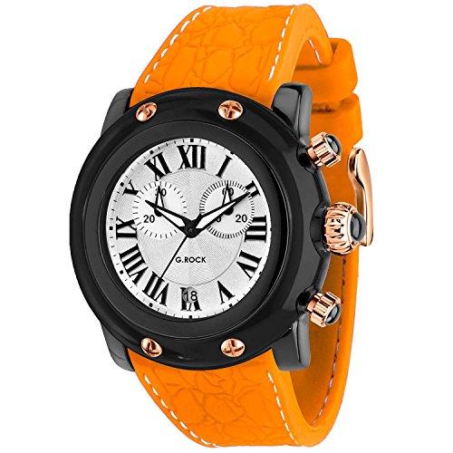 Glam Rock Unisex Miami Beach 46mm Orange Silicone Band Polycarbonate Case Quartz White Dial Watch GR2516