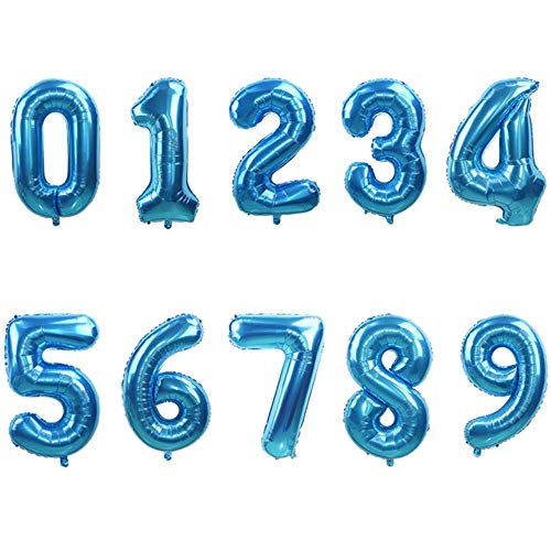 Uofr 32/40 Inch Rose Gold Silver Number Foil Balloons Large Helium Globos Birthday Party Wedding Decorations Digit Figure Balloon,Blue,Number 7,40inch