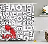 Love Decor Shower Curtain Set, Macro Big Texts Lettering Setting Passionate Emotions Feelings Valentines Design, Bathroom Accessories, 60 X 72inch, Grey Red White