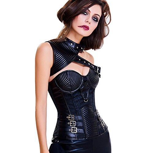 Lover-Beauty Damen Gothic Korsage Vollbrust Vintage Corsage Steampunk Korsett Schwarz 13