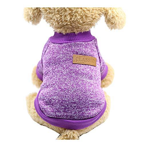 Morbuy Hund Katzen Welpe Kostüm Kapuzenpullis Stricken, Haustiere Pullover Sweater Halloween Haustier Kostüme Nettes Cosplay für Kleine Katzen Welpen (Minions Lila Kostüm)