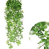 2 Stück Kunstpflanze Efeu Kunstblumen Blätter von DAYU WORLD Zimmer Hochzeit Wand Party Garten Festival Deko Efeugirlande Künstlich Hängende Rebe, 120cm