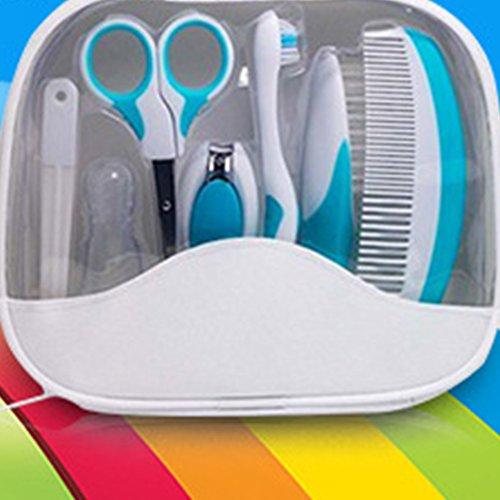 Zantec 7 Stück Baby Grooming Krankenpflege Kit Safe Nail Clippers Kamm Zahnbürste Schere Set für Baby