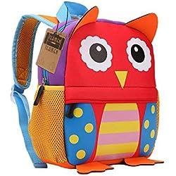 Mochila para niños, Animal Mochila Escolar TEAMEN® Toddler Kids Mochila Escolar para niños pequeños, Mochila para 2-5 años (Búho)