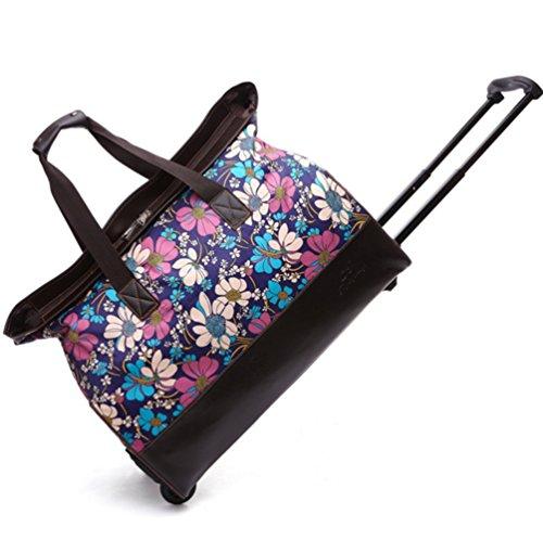 YAAGLE damen und herren 22 zoll Rollenreisetasche Trolley Reisegepäck Nylon Reisetasche Reisetrolley Handgepäck Blumen Blumen