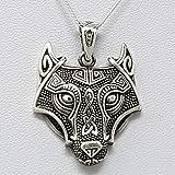 TreasureBay - Colgante de plata de ley 925 con diseño de lobo y cadena, para hombre