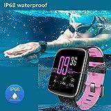 Willful Smartwatch con Pulsómetro,Impermeable IP68 Reloj Inteligente con Cronómetro, Monitor de sueño,Podómetro,Calendario,Control Remoto de música,Pulsera Actividad para Android y iOS (Rosa)