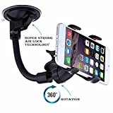 #1: Car mobile holder Combo by Meya Happy™ for car windshield Glass with Latest lock based air suction cup system for super strong grip | soft tube arm with 360 degree rotation