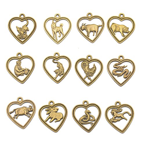 12pcs Colgantes Amuleto Horóscopo de Zodiaco Chino Color Bronce Antiguo para Collar