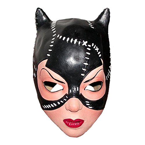 Queenshiny® Latex Realistische Kopfmaske Halloween Cosplay Partei-Kostüm-Abendkleid (Latex Catwoman Kostüm)
