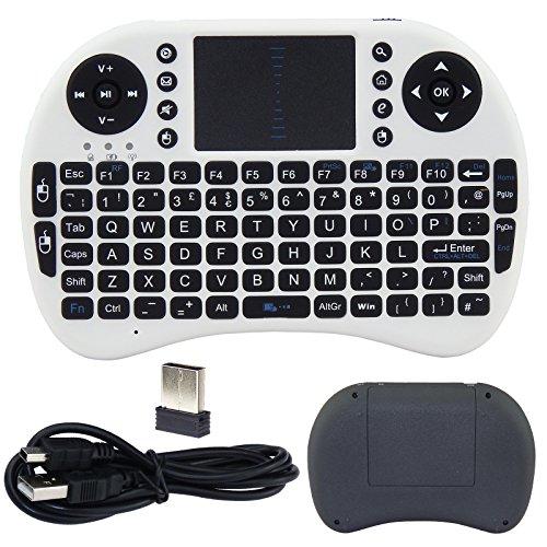XpressBuyer marca nueva 2,4gHz Mini Mobile teclado inalámbrico con Touchpad Ratón, recargable Li-ion recargable y cómodo carcasa de silicona para para PC, portátil, Raspberry Pi 2, MacOS, Linux, HTPC, IPTV, google Android Smart TV Box, XBMC, Windows 2000XP Vista 7810, UK Layout (color blanco)