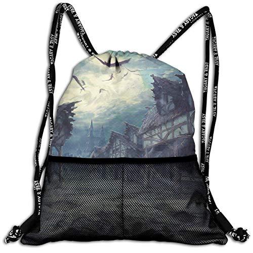 ziHeadwear House Halloween Horror Dark Bats Drawstring Bag Sport Gym Sack Bundle Backpack Daypack for Men and Women Outdoor Shopping Satchel Rucksack
