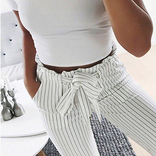 c8ccaa84767d Preiswert Coolster Damen-beiläufige Gestreifte Hohe Taillen-Hosen-Elastische  Taillen-beiläufige Hosen (Dunkelblau, M) Die Beste
