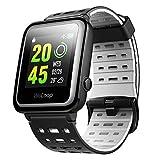 Bluetooth Smartwatch, OMORC Intelligente sockenuhr Wasserdicht GPS-Laufuhr Schrittzähler Herzfrequenz- und Schlafmonitor, Fitness Tracker für Laufen Schwimmen Radfahren
