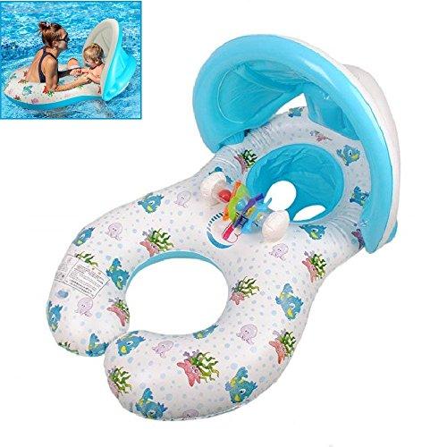 YONG-SHENG mit Vorzelt Doppel Mutter Ring Kleinkinder Schwimmen Schwimmen Ring Gepolstert Kindersitz Baby Schwimmhilfen mit Sitz Dual Schwimmen Ringe für Alter 6 bis 36 Monaten
