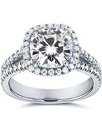Kissen Moissanit und Halo Diamond Engagement Ring 21/2ctw in 14K Weiß Gold