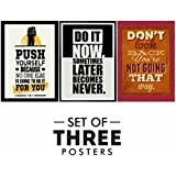 Motivational Posters For Office And Study Room - Set Of 3 Inspirational Wall Quotes| Home Decor |Quotes Decorative Poster