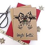 Luxus Kraft Weihnachtskarten Gin GLE Glocken Gin Liebhaber Weihnachten mit dicken Qualität Briefumschläge, Pack of 6 cards Kraft
