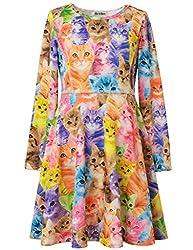 Perfashion Sundress for Girl Long Sleeve Skater Dress