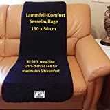 Lammfell-Komfort Sesselauflage 150x50cm in Top-Qualität. Australisches Anti-Dekubitus Fell für den Sessel oder Stuhl. Ultra-dichter Lammfell-Komfort: weich, warm, bequem und waschbar bei 30- 95C
