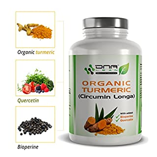 DNA Lean Turmeric (CIRCUMIN Longa) and Black Pepper Extract (BIOPERINE) with Quercetin for Enhanced Absorption 120 x 600mg Vegetable Capsules Non-GMO Vegan Friendly Made in The UK