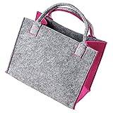 As Design by LaFiore24 - Hochwertige Filztasche Damen Filz Shopper Einkaufstasche Filz Handtasche Shopper Festivalbag Henkeltasche zur Aufbewahrung Hell Grau-Pink