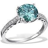 Goldmaid Damen-Ring Mint Green 925 Sterlinsilber gesetzt mit 16 weißen und einem türkisenen Swarovski