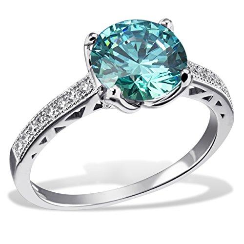 Goldmaid Damen-Ring Mint Green 925 Sterlinsilber gesetzt mit 16 weißen und einem türkisenen Swarovski Zirconia