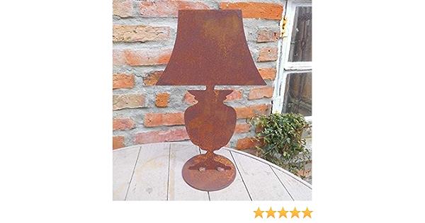 GARTENFIGUR LANDHAUSSTIL GARTENDEKO DEKO LAMPE TISCHLAMPE ROST METALL 36cm H