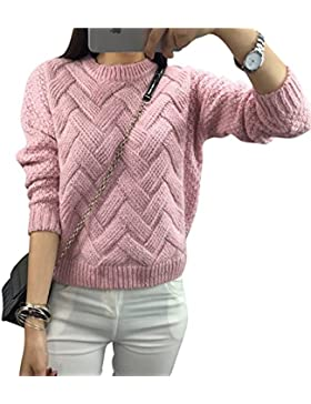 Mujer cuello redondo Jerséis Manga Larga tejer Bodkin abigarrado Suéter Pink