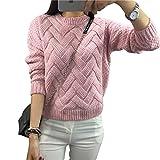 Qitun Donne Larghi Girocollo Pullover delle di Motley Addensare Maglione Pink