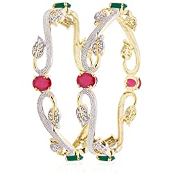 Quail Women's Sparkling Collection Gold Alloy American Diamond Bangle for Women (Pack of 2)/ Bangles for Women Traditional