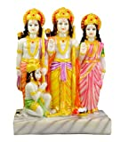 Indian Hand Carved Ram Sita and Laxman Resin Idol Sculpture Statue Top Quality Marble Polish 8.8 Inches