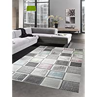 Designer and modern carpet living room carpet with checked pattern in gray blue green pink size 120x170 cm