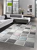 Designer und Moderner Teppich Kurzflorteppich mit Karomuster grau bunt blau grün rosa Größe 120x170 cm