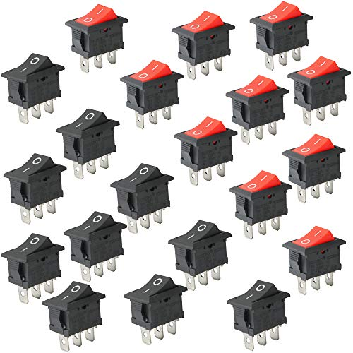 KINYOOO Mini Bateau commutateur, 6A/250V 10A/125V AC 3 Broches SPST Interrupteur à bascule pour voiture auto Bateau appareils ménagers, (Noir 10 pcs, rouge 10 pcs)