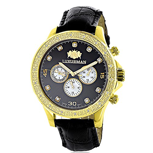 Luxurman Mens Diamond Watch 0.2ct Black MOP Liberty 18k Yellow Gold Plated Swiss Movement w Leather Band