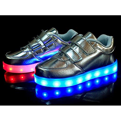 Free Fisher Jungen/Mädchen LED Leuchtend Sportschuhe Sneaker Turnschuhe Silber