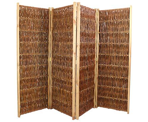 bambus-discount.com Raumteiler aus Weiden, Paravent Höhe 120cm x Breite 240cm, 4 teilig - Raumtrenner mobiler Sichtschutz